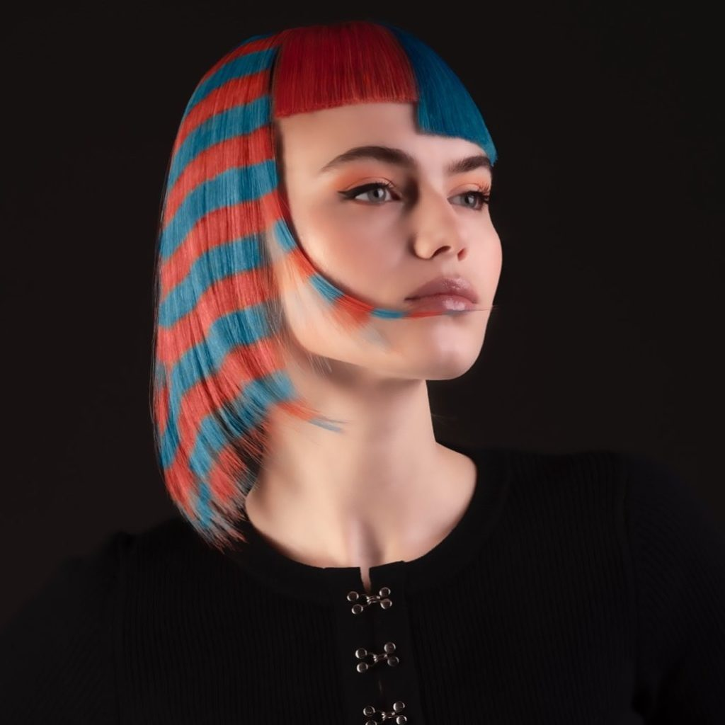 red blue straight short hairstyle