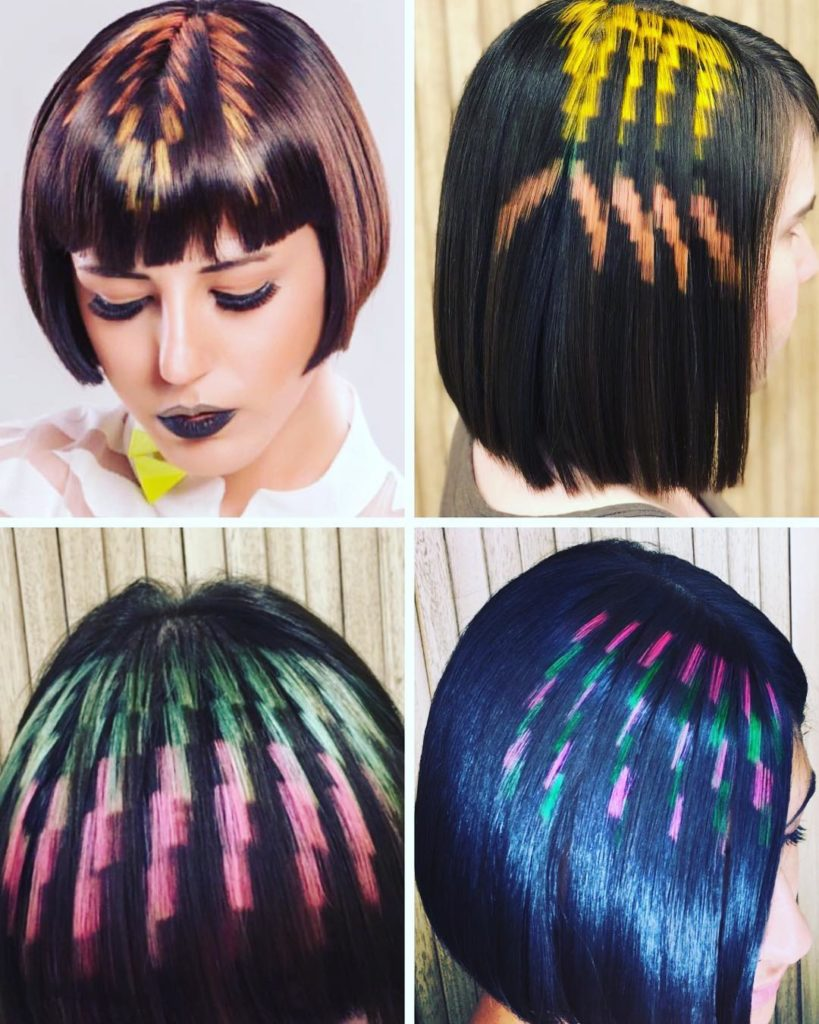 zigzag color hairstyle