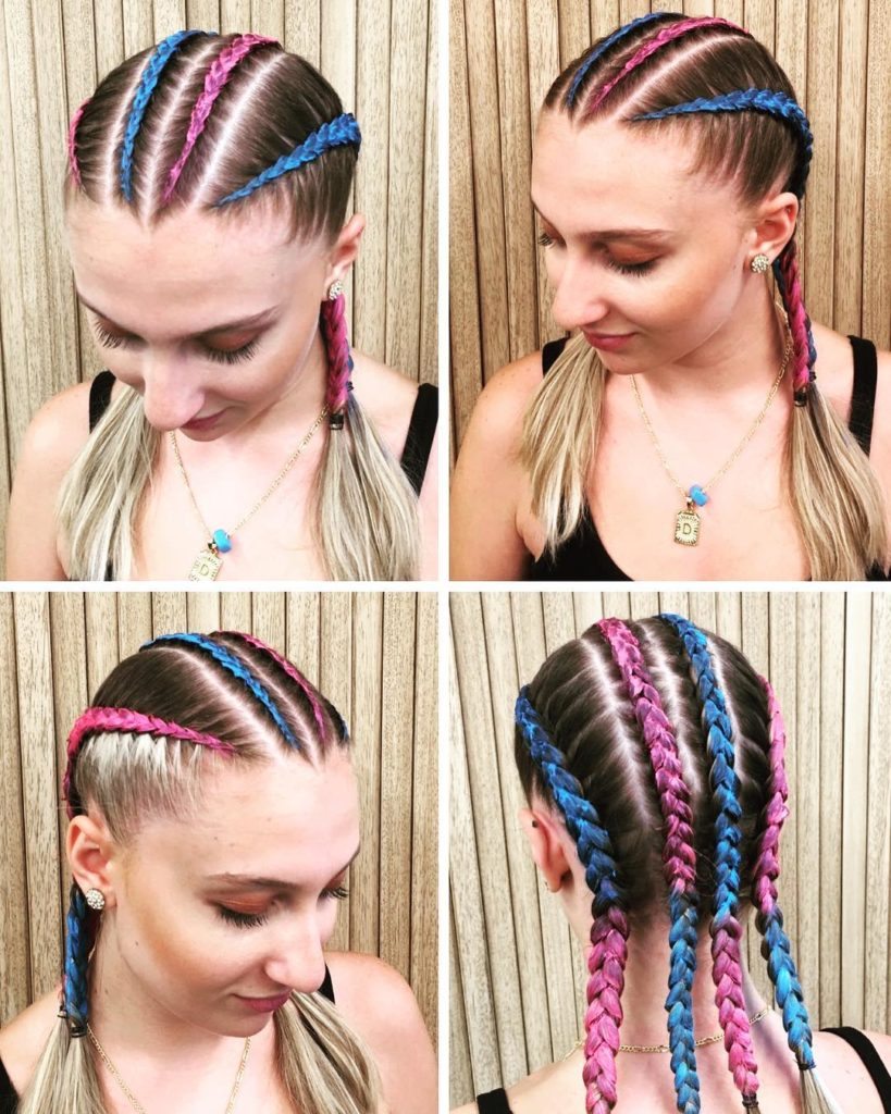 purple and blue braid hairstyle