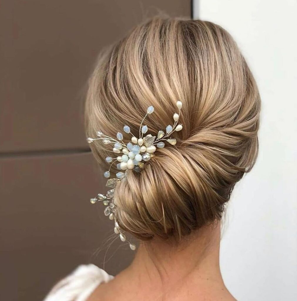 blonde bridal bun hairstyle