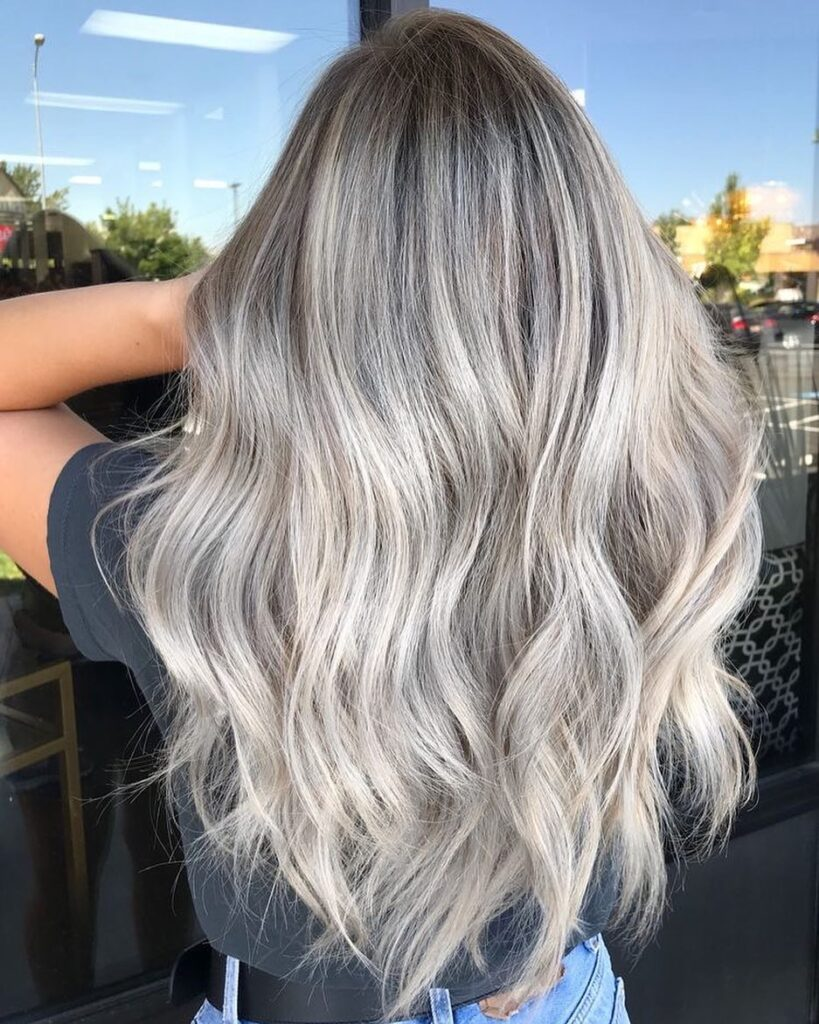 long platinum wavy hairstyle