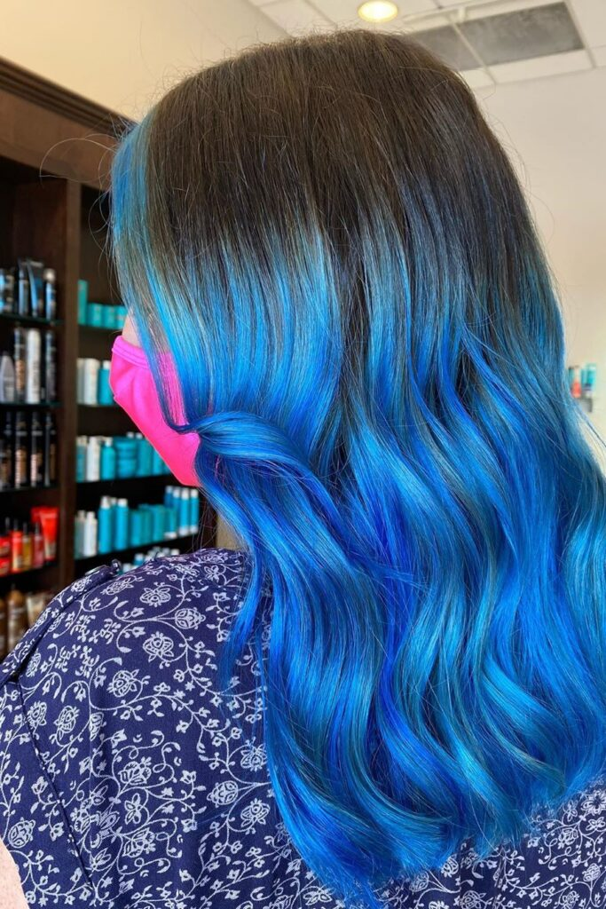 long black blue ombre hairstyle