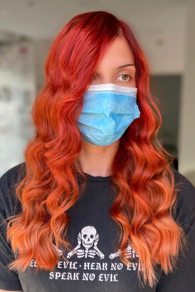 red wavy ombre hairstyle