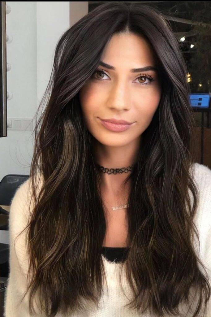 long black color hairstyle