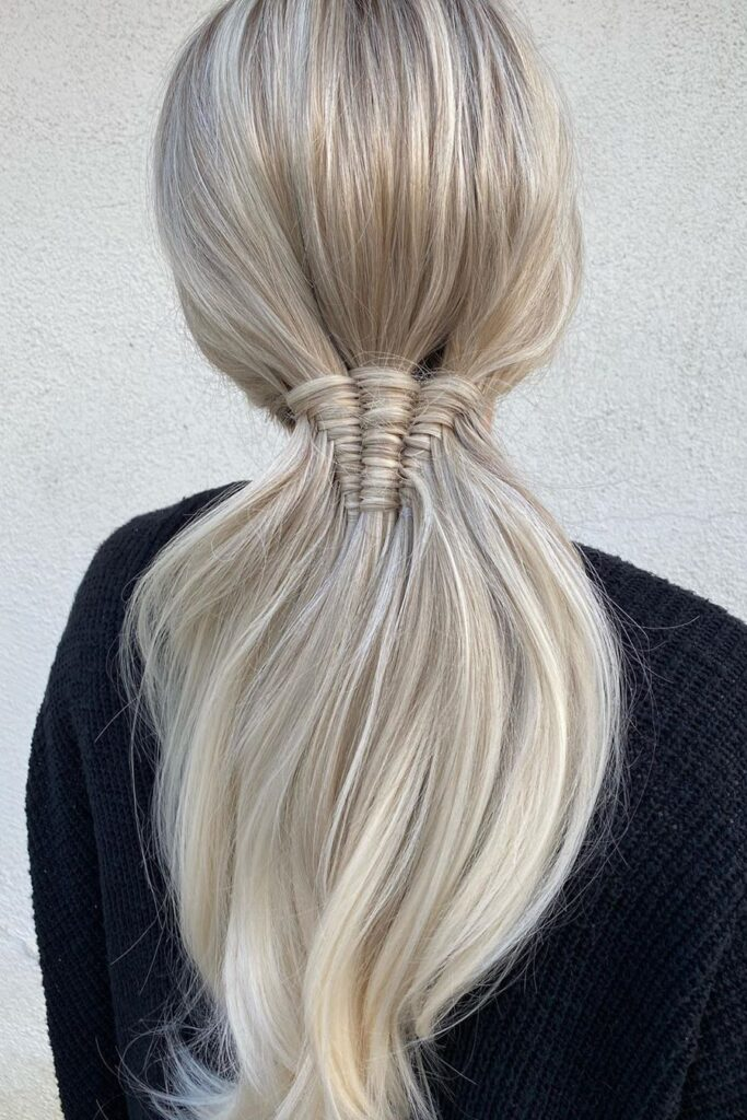 long blonde braid straight hairstyle