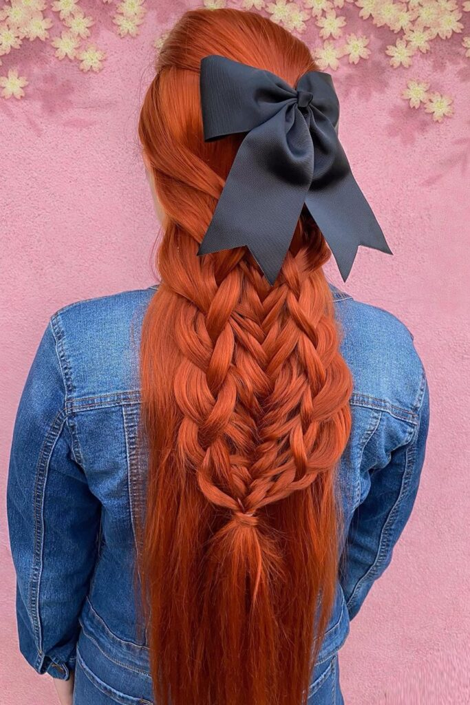 long red braid layered hairstyle