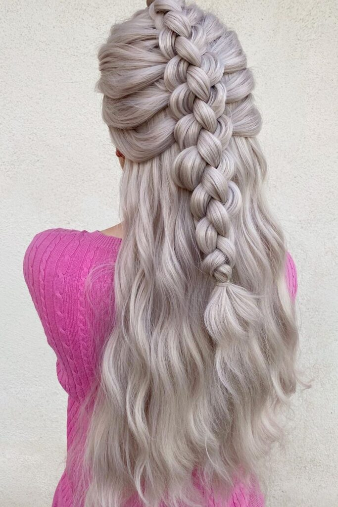 long blonde braid layered hairstyle