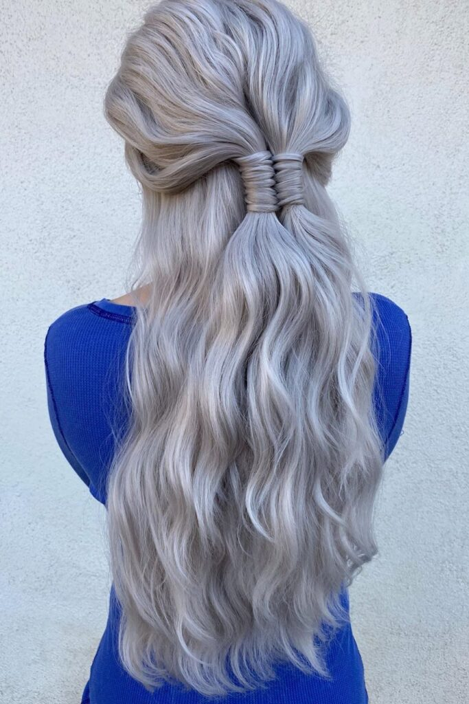 long gray braid layered hairstyle