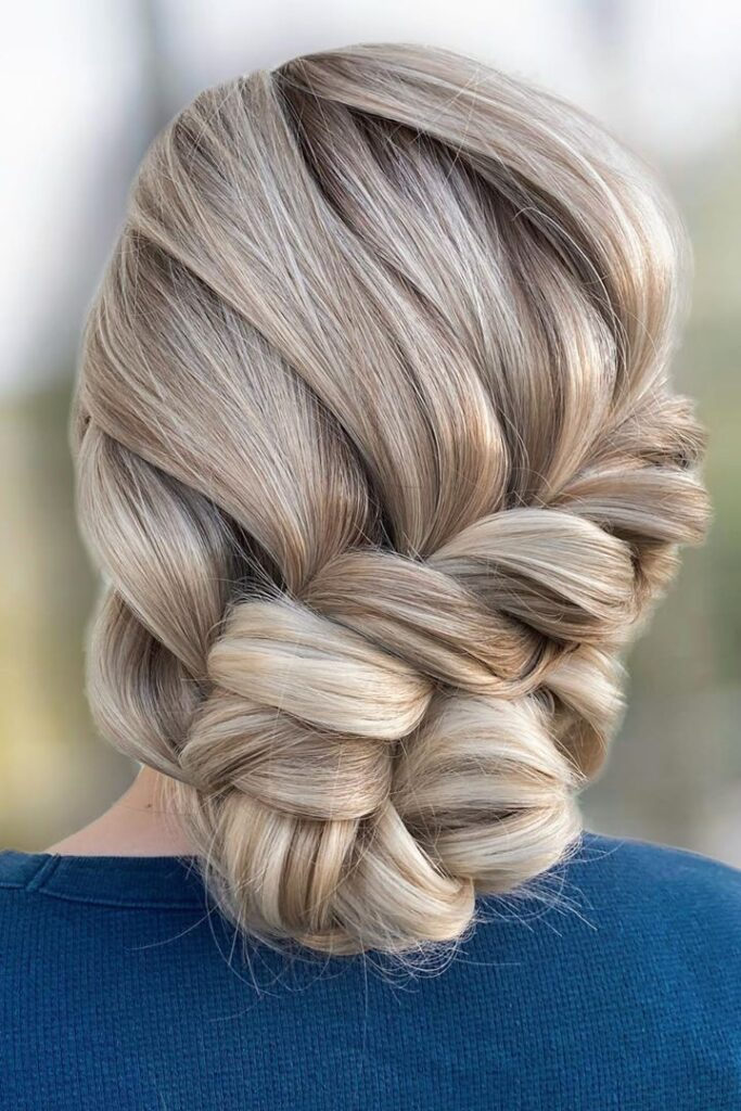 long blonde braid bun hairstyle