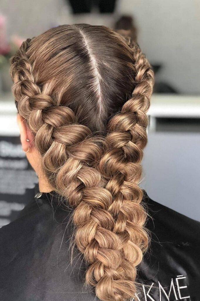 long light brown braid hairstyle