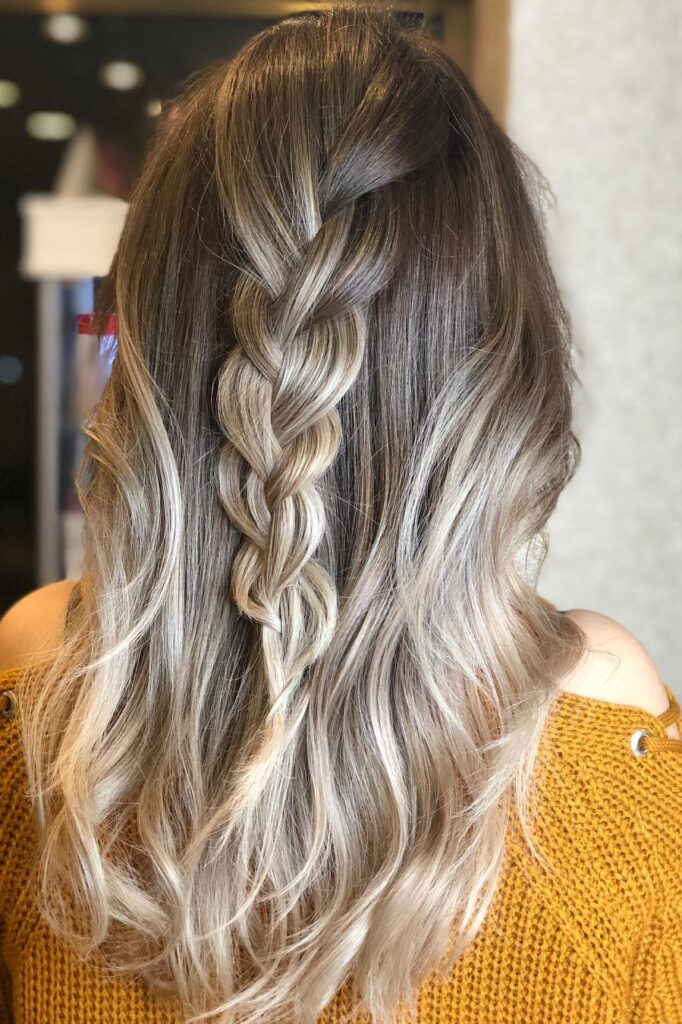 long blonde wavy braid hairstyle