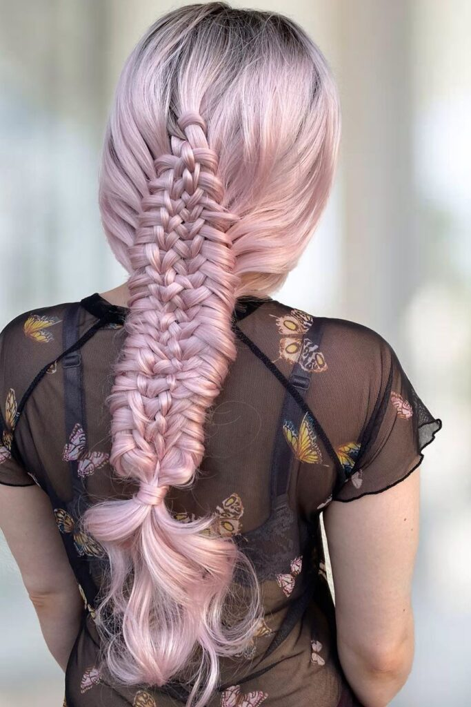 long pink braid hairstyle