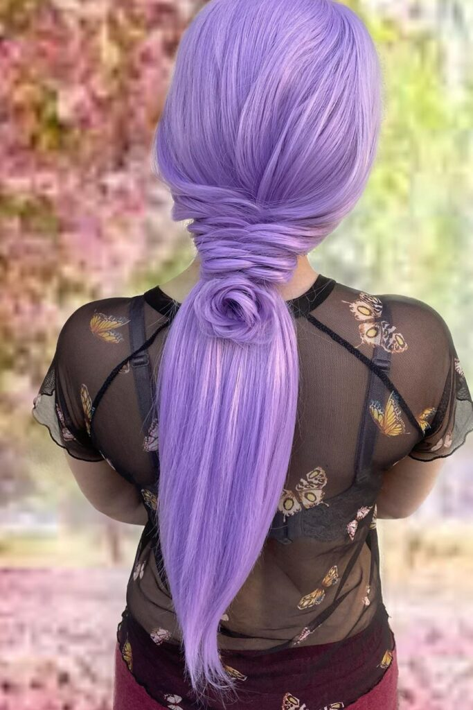 long purple braid hairstyle