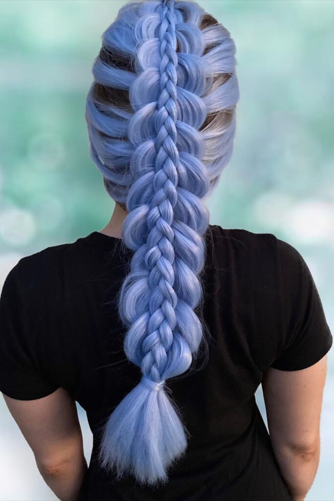 long blue braid hairstyle