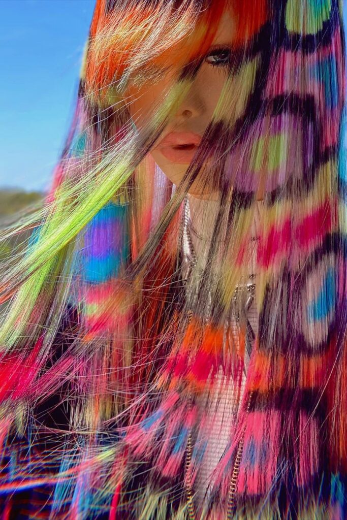 colorful long hairstyle