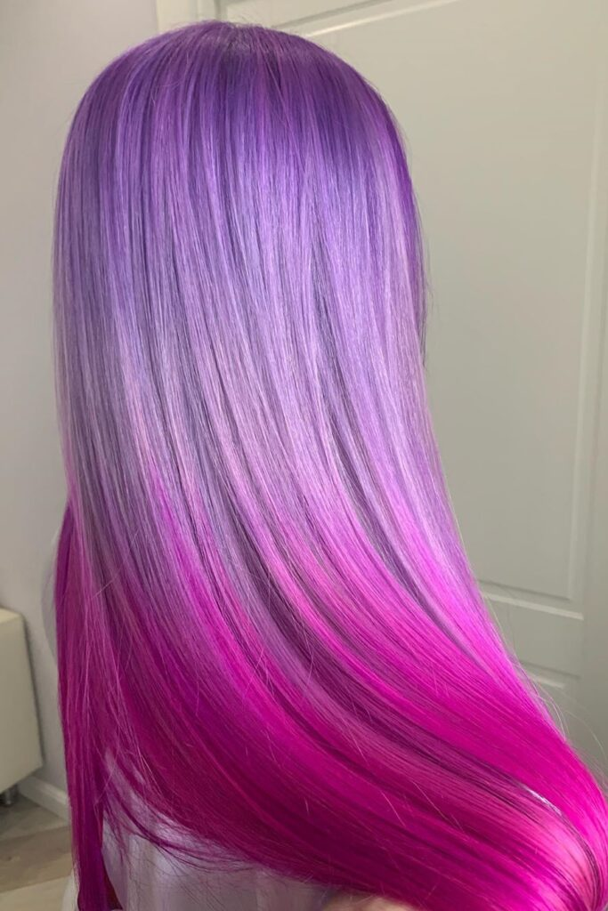 purple and pink straight hairstyle