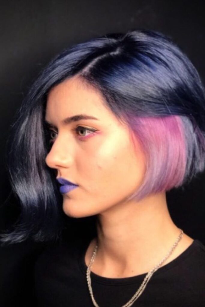 purple and pink thick hairstyle