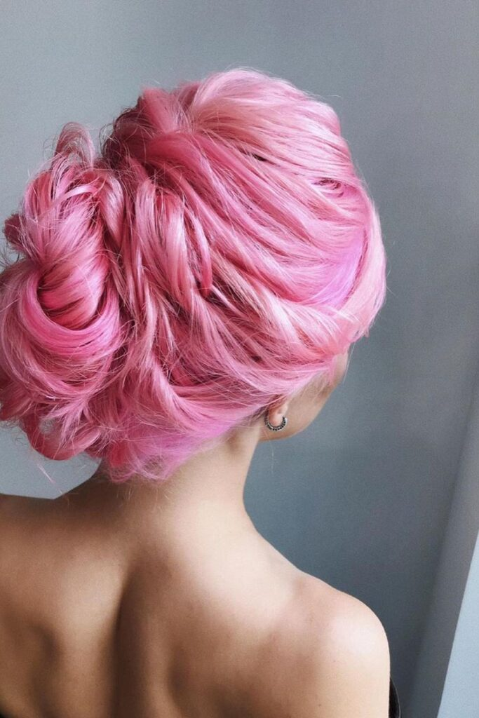 pink thick bun hairstyle