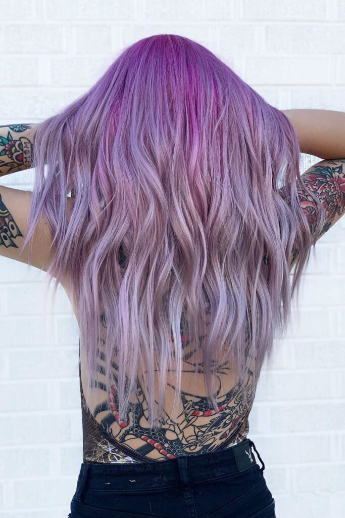 purple wavy hairstyle