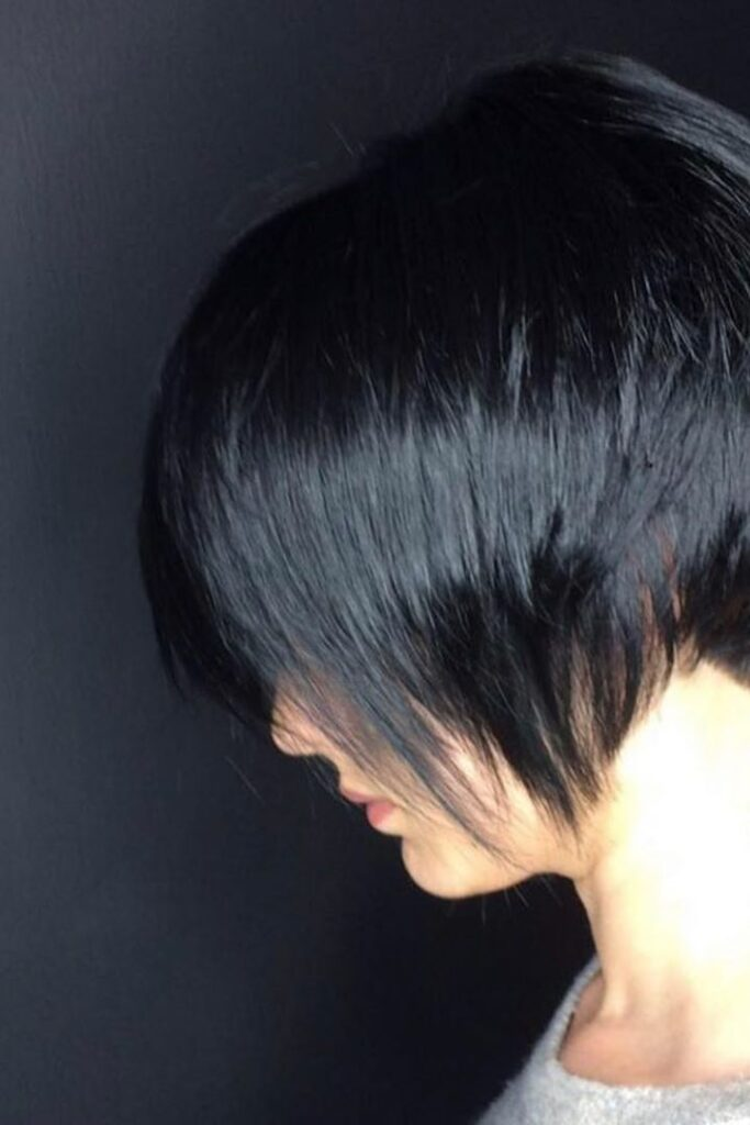black pixie hair cut hairstyle