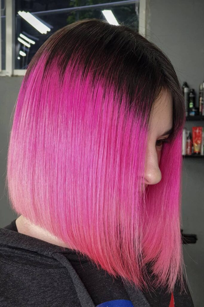 chin-lenght pink hairstyle