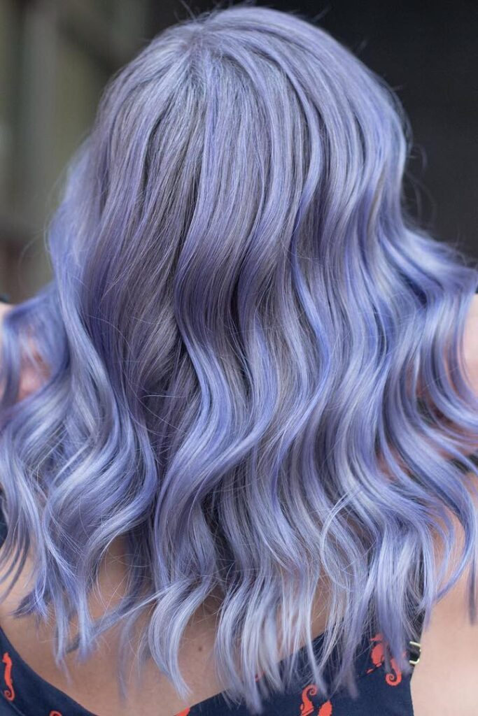 platinum purple wavy hairstyle