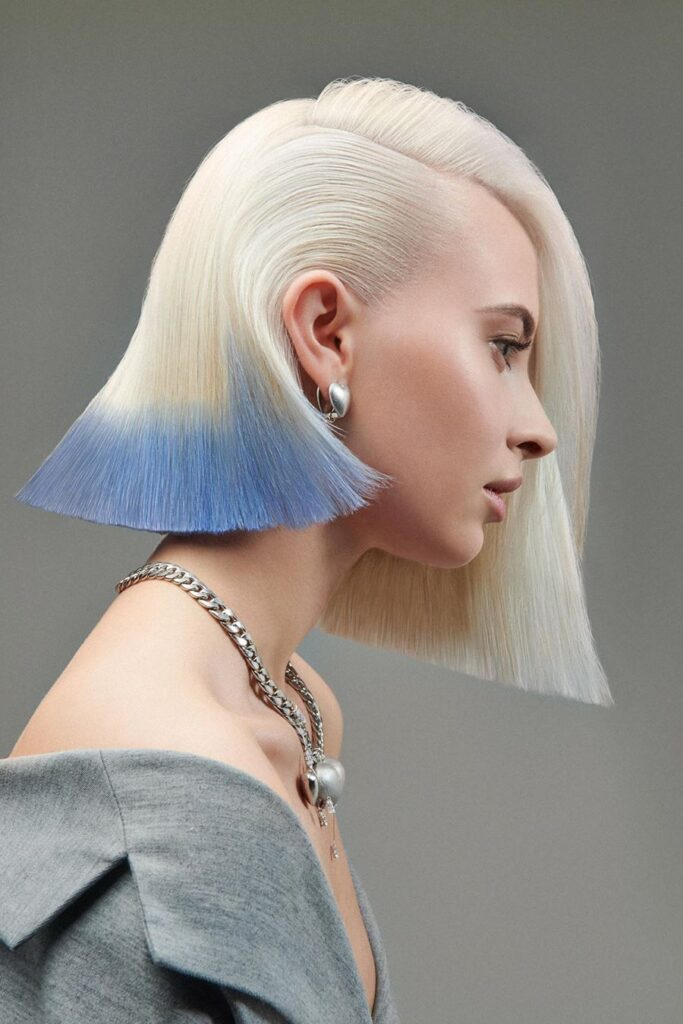 blonde blue bob hairstyle