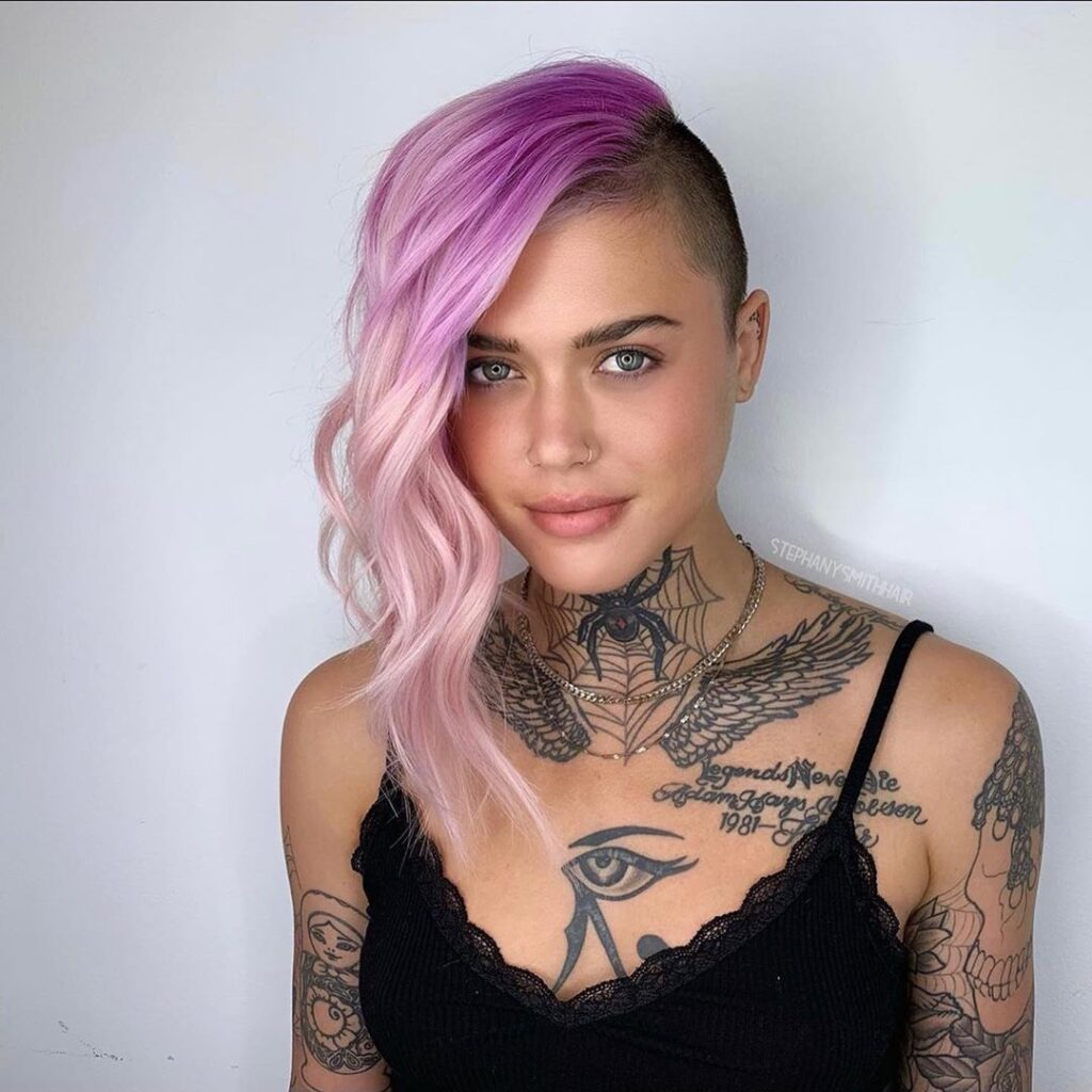 purple pink shaved hairstyle