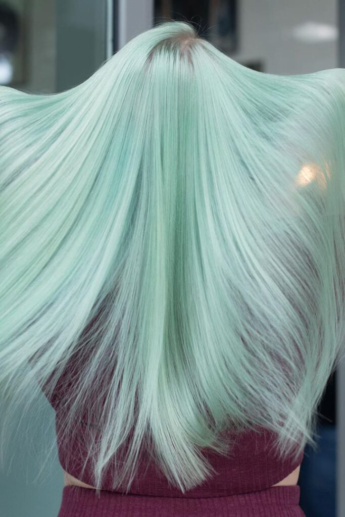 light green straight hairstyle