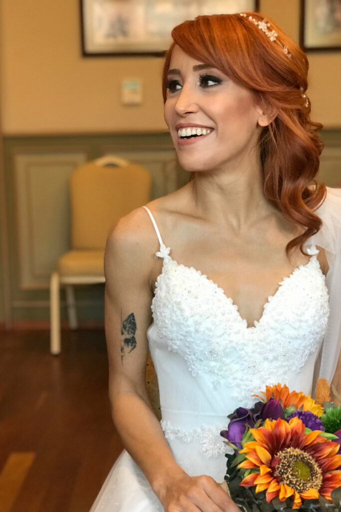 red bridal hairstyle