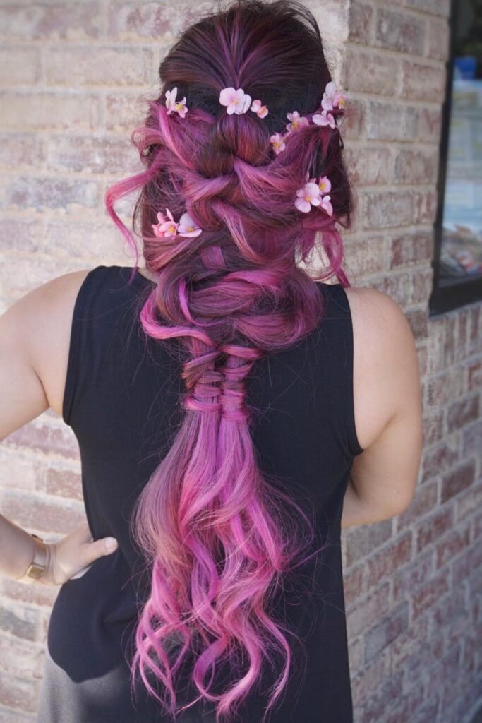 purple braid long hairstyle