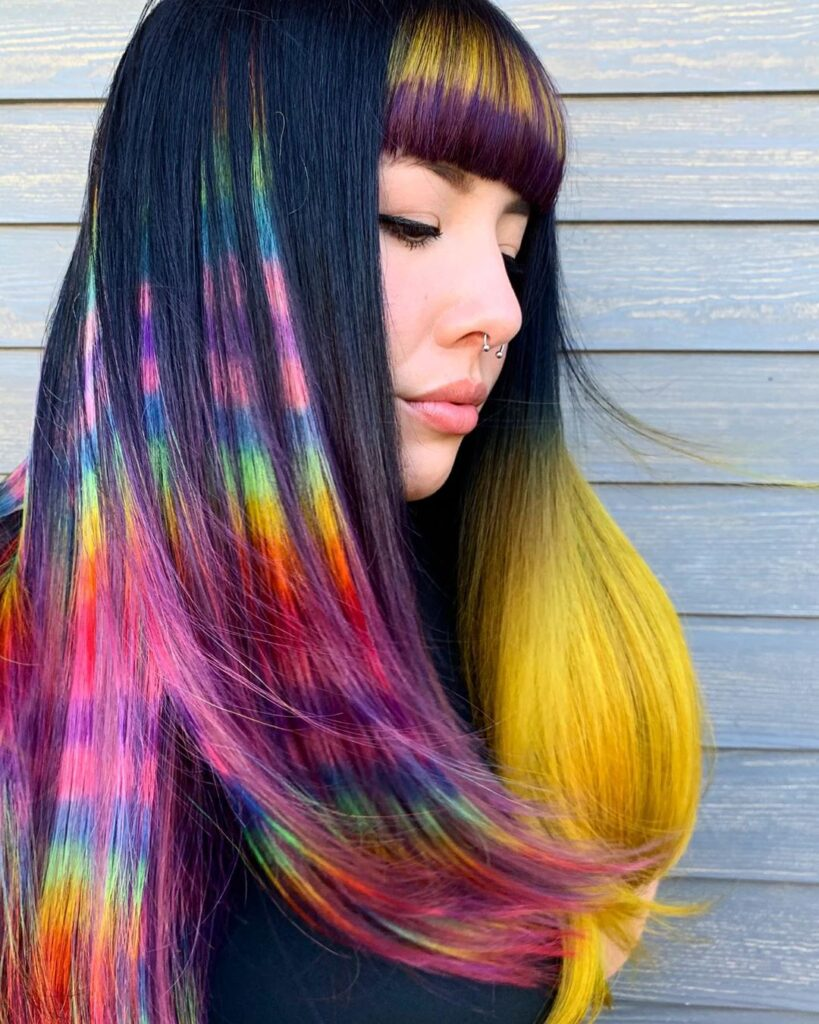 colorful bangs hairstyle