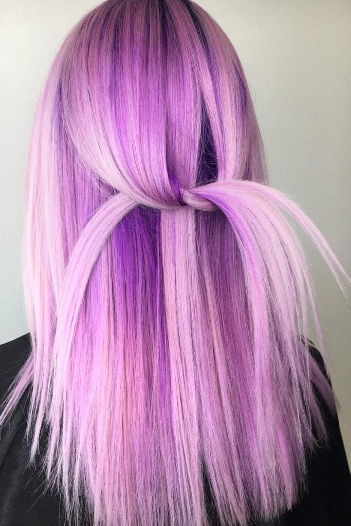 purpe blonde straight hairstyle