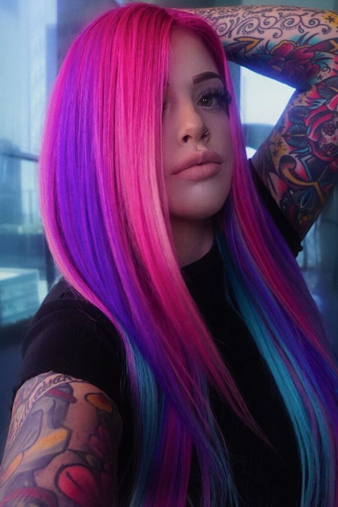 pink purple hairstyle