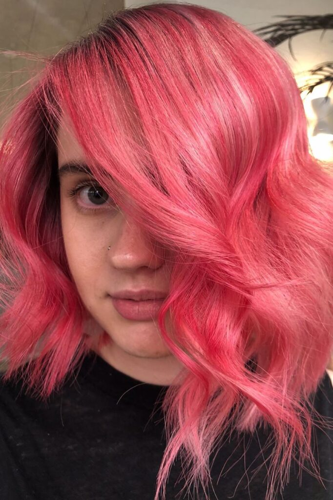 pink choppy hairstyle