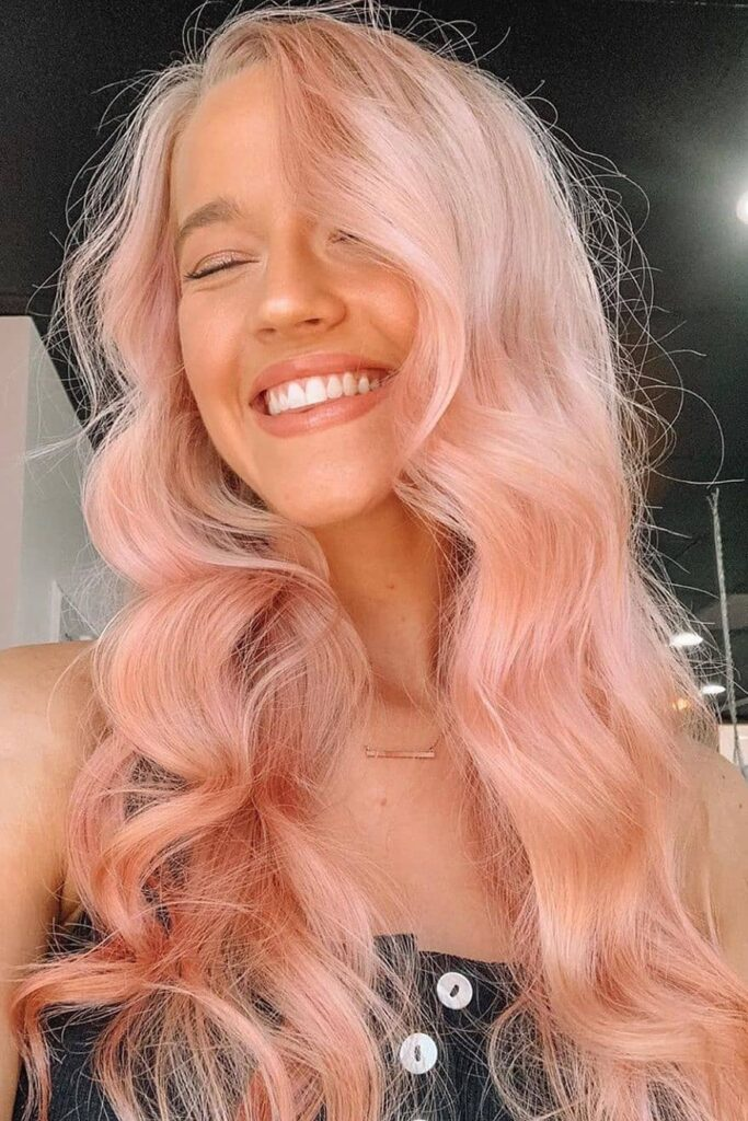 long light pink wavy hairstyle