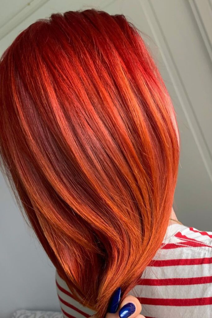 red straight hairstyle