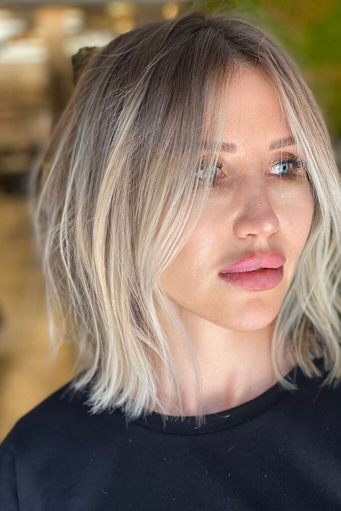 short blonde elongated hairstyle