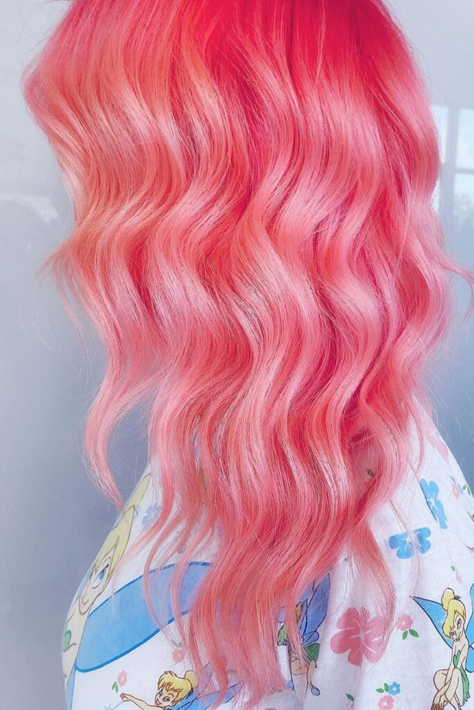 wavy red pink color hair