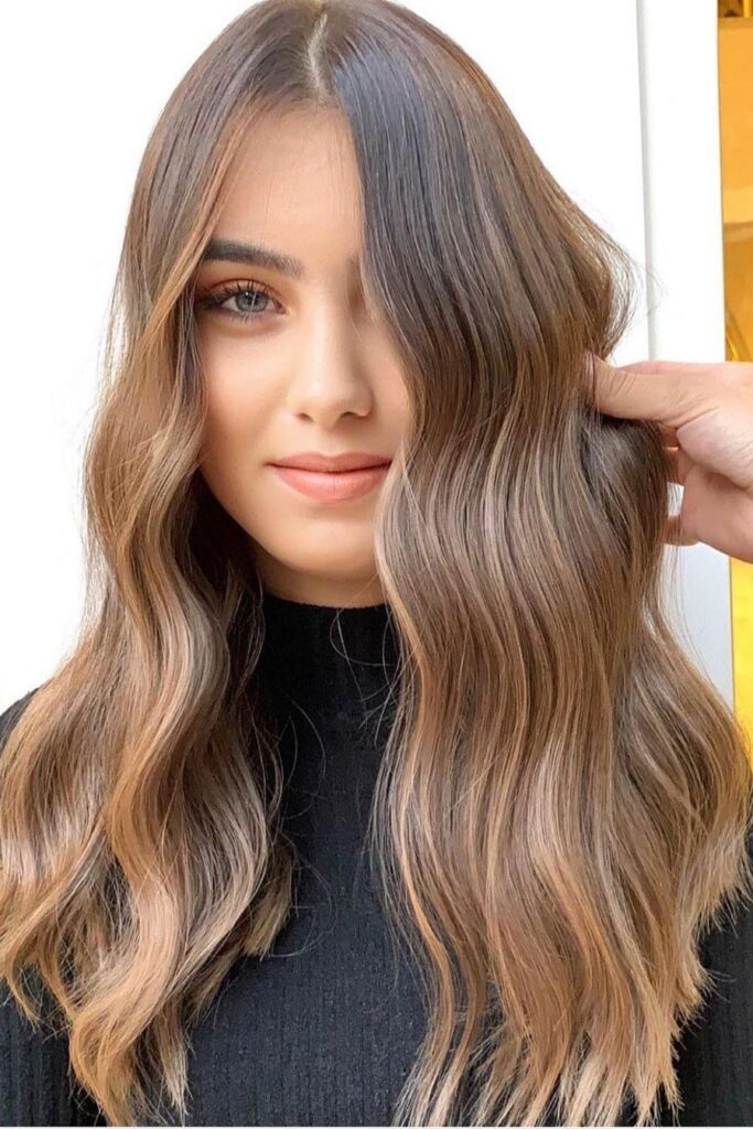 wavy brown hairstyle