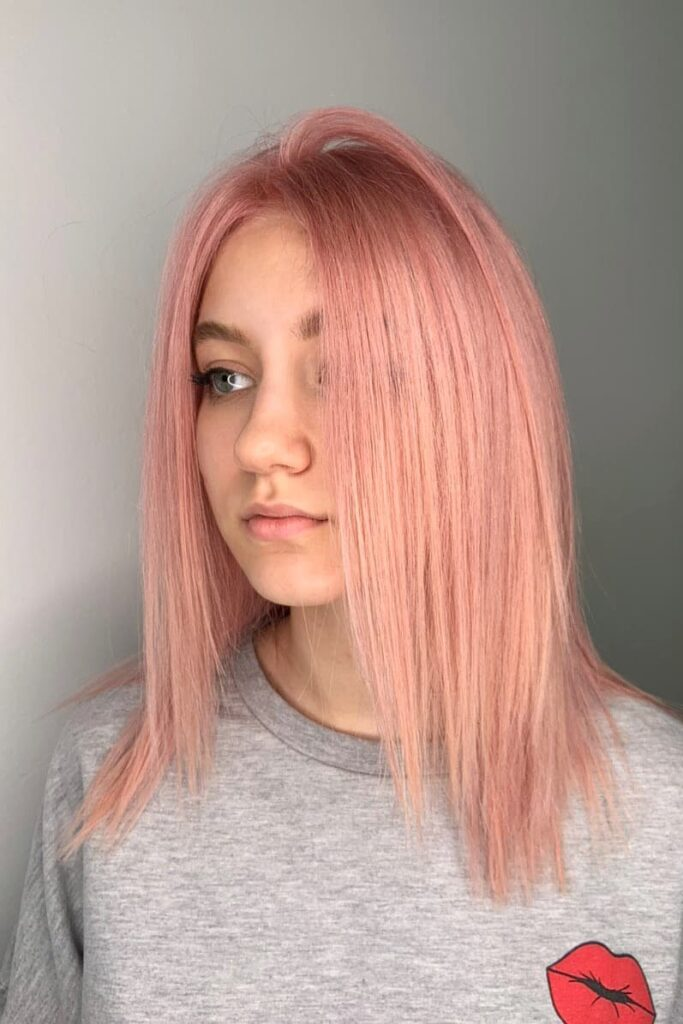 pink straight hairstyle