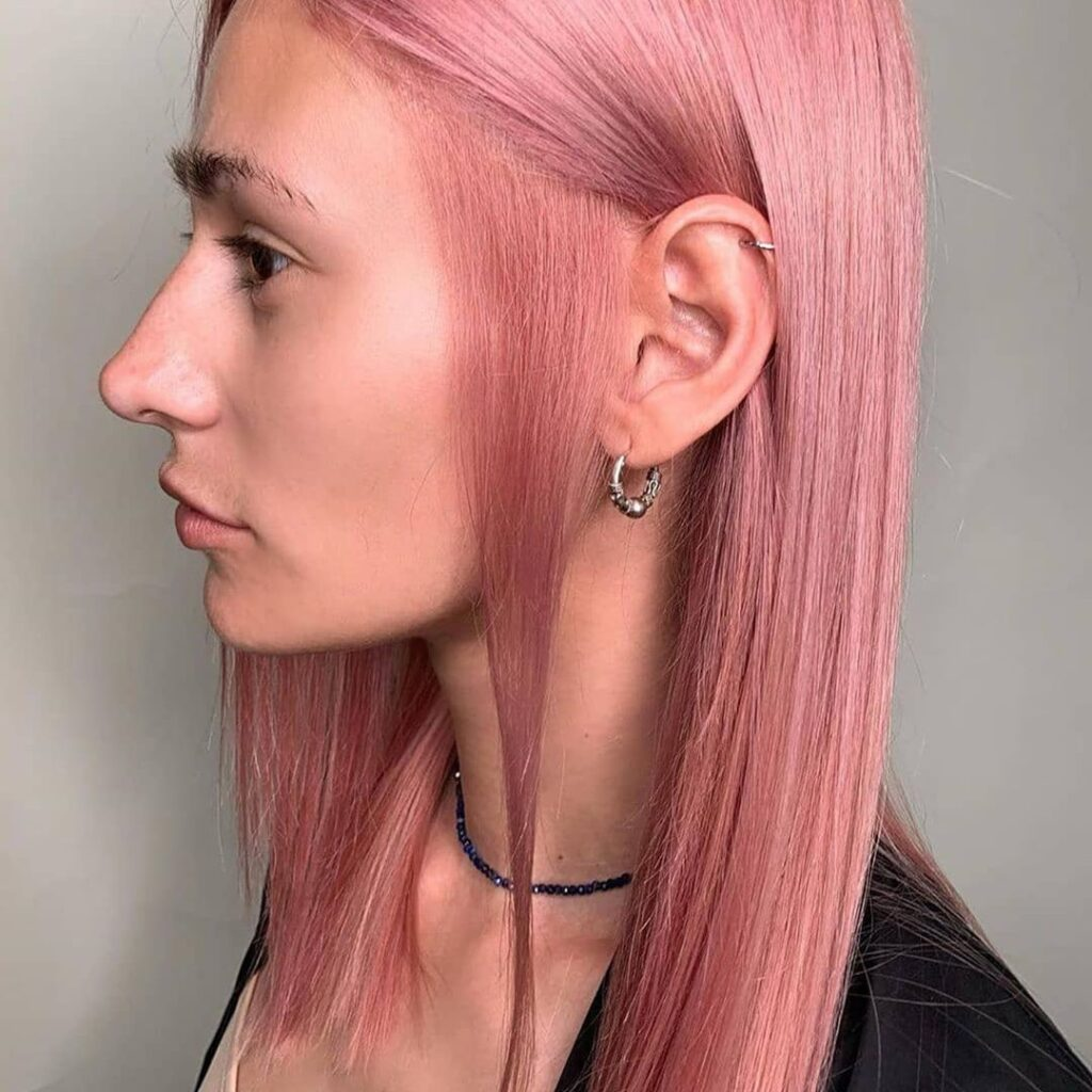 straight pink hairstyle