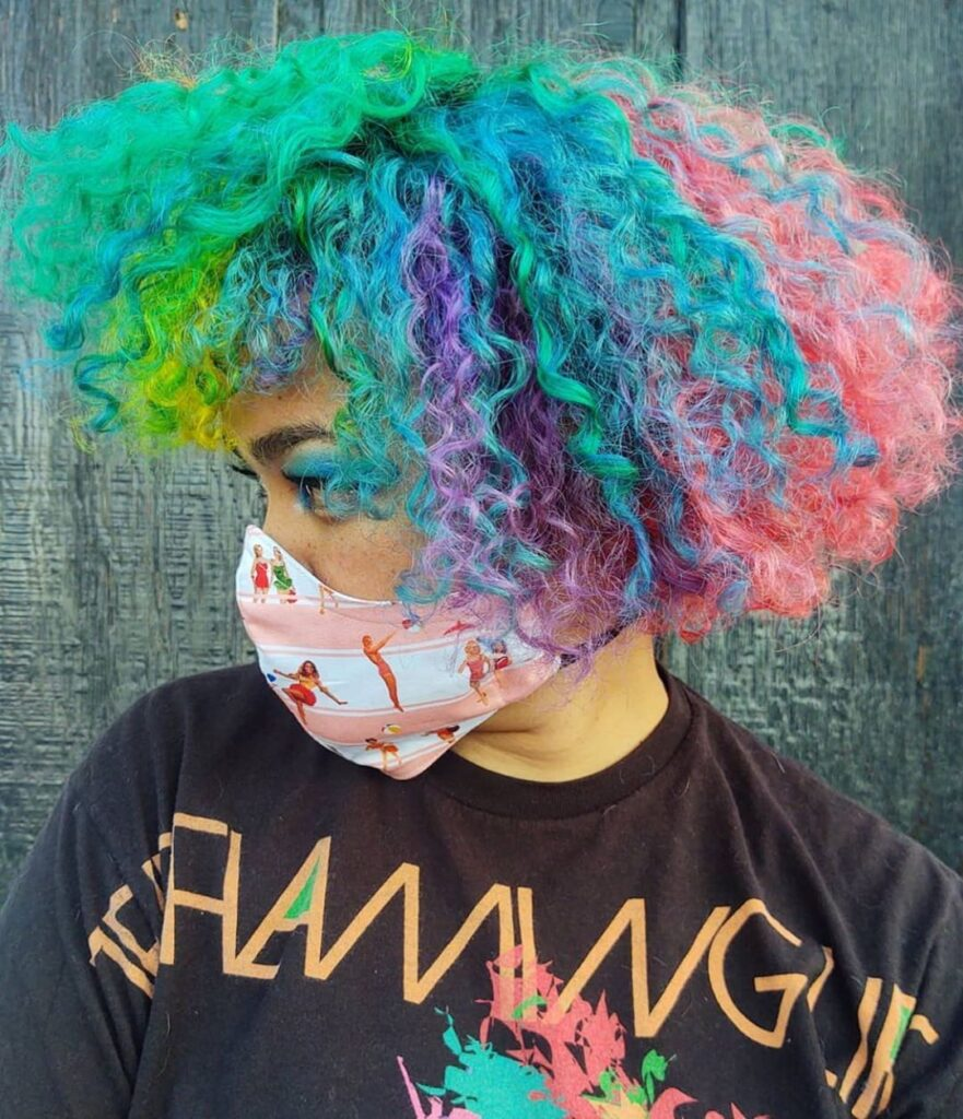 curly messy colorful hairstyle