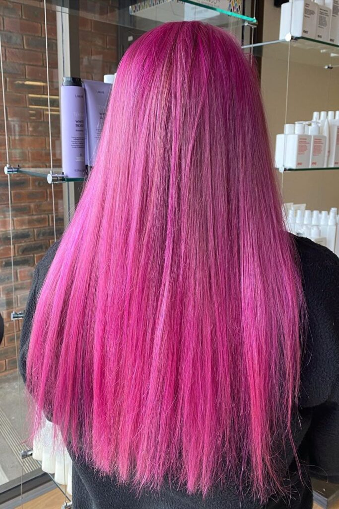 long pink hairstyle