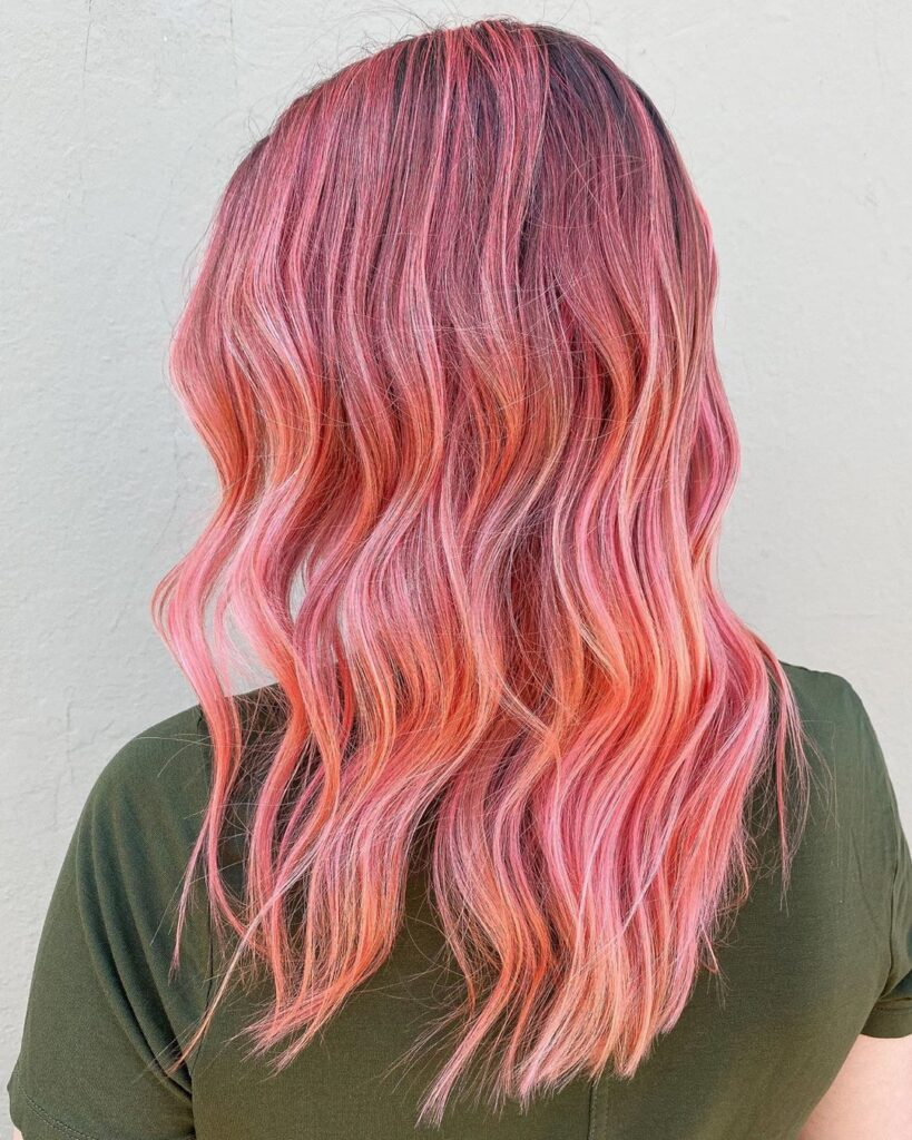 pink wavy long hairstyle