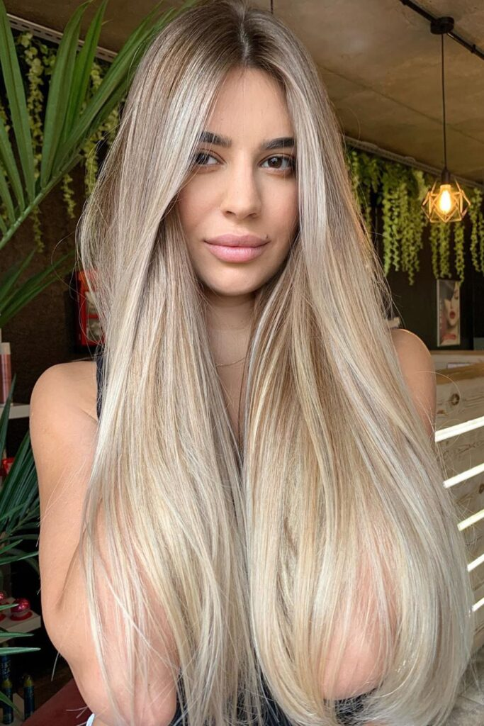 long blonde waist lenght hairstyle