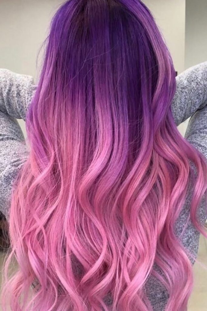 purple and pink ombre hairstyle