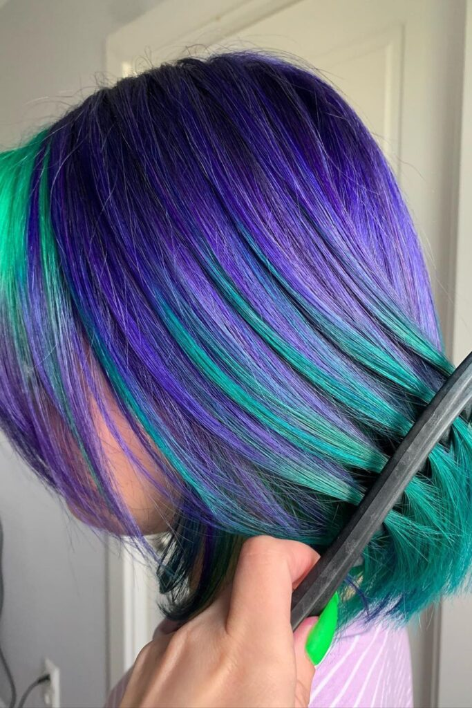 purple green thick hairstyle