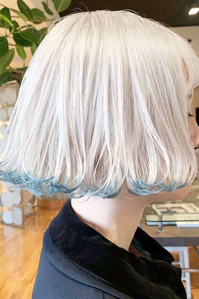 platinum blonde and blue layered hairstyle