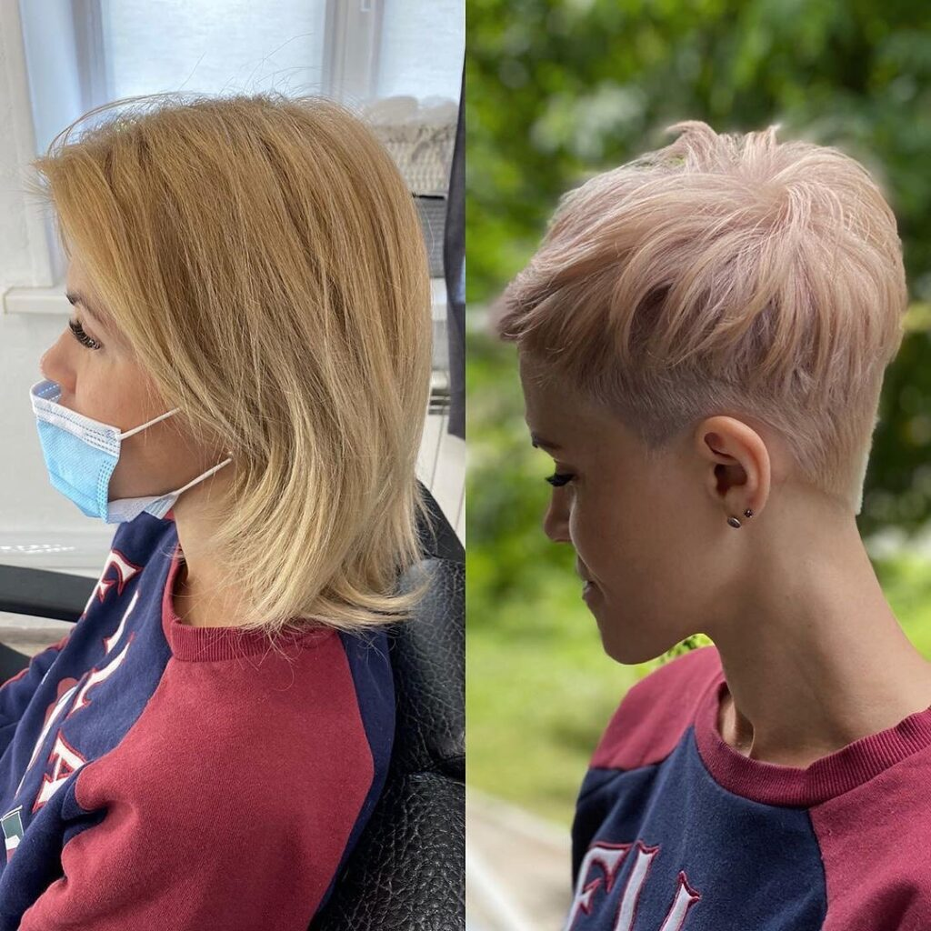 before and after pixie haircut blonde hairstyle